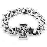 Mianova Schmuck Panzerarmband Gliederarmband Massiv Panzer Edelstahl Armband mit Eisernes Kreuz und Totenkopf Skull Silber