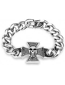 Mianova Schmuck Panzerarmband Gliederarmband Massiv Panzer Edelstahl Armband mit Eisernes Kreuz und Totenkopf...