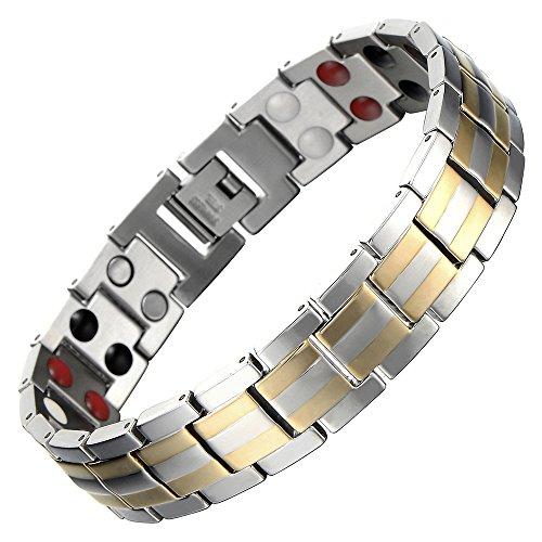 COOLSTEELANDBEYOND Moderne Homme Aimanté Bracelet Acier - Élément Aimants Germanium -Argent Or - Outil de Suppression de Lien Inclus