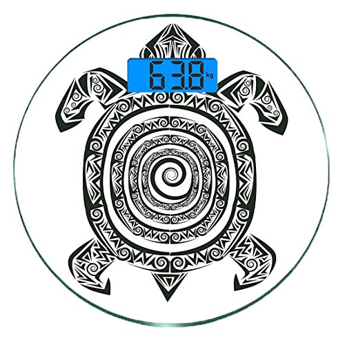 Bilancia digitale di precisione tondo tartaruga misurazioni accurate del peso della bilancia pesapersone in vetro ultra sottile,maori tattoo style figure di sea animal tribal spiral form ancient tropi