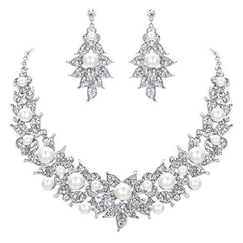 Ever Faith Damen Schmuckset Österreichischen Kristall Simulierte Perle Mode Hochzeit Braut Blume Kostüm Statement Schmuck Set Elfenbein-Weiß Silber-Ton