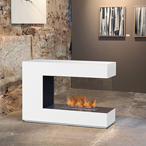 muenkel design loft.line -- C-02 Raumteiler Ethanol Kamin: Reinweiß - line burner 500