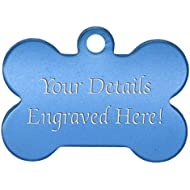Wadoy Bone Shaped Pet Tags - 38mm Wide - 9 Colours To Choose From, Free Engraving (Blue)