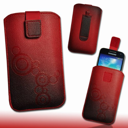 Handy Tasche Hülle Etui Kunstleder rot / schwarz M78 Gr.3 für LG Optimus L5 II E460 / LG Optimus L7 II P710 / Mobistel Cynus F3 / Blackberry Q10 / HTC First / Huawei Ascend W1 / Huawei Ascend Y300 / LG Optimus F5 P875 / Base Lutea 3