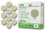 10x greenandco® LED Lampe ersetzt 15-20 Watt G4 Halogenlampe, 2,4W 150 Lumen 3000K warmweiß 12 x 5050 SMD LED 120° 12V DC, nicht dimmbar, 2 Jahre Garantie