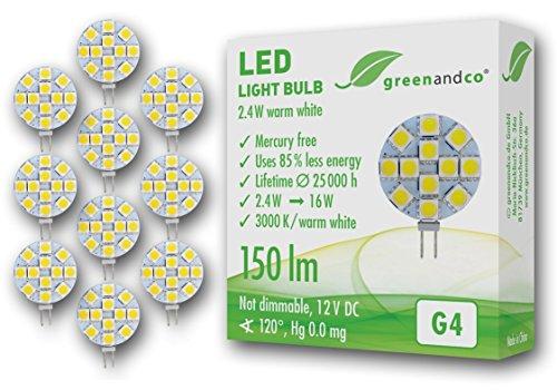 10 unidades de lámparas LED greenandco® G4 / 2,4 vatios / 150 lúmenes / 3000 K (blanco cálido) / 12 x 5050 SMD LED / 120° ángulo de dispersión / 12 voltios DC
