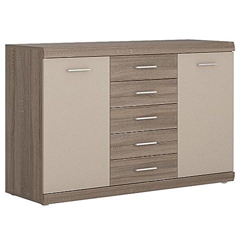 Furniture To Go Park Lane 2-Door 5-Drawer Sideboard with Melamine, 140 x 90 x 46 cm, Oak/Champagne