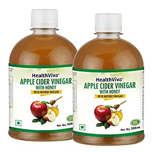 HealthViva Apple Cider Vinegar Combo with Mother Vinegar and Honey - 500 ml (Pack of 2)