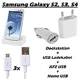Totalcase 6 in1 Kit Dockingstation Ladekabel Samsung Galaxy S2 S3 S4 S5 S6 Edge mini Ladestation Netzteil KFZ HTC Huawei Sony Micro USB