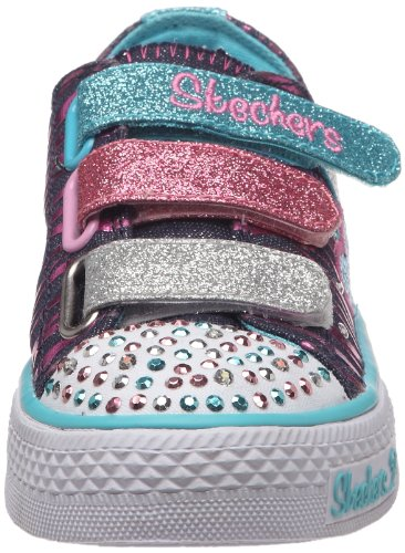 Skechers Shuffles Triple Time, Baskets mode fille Bleu (Dmlt)