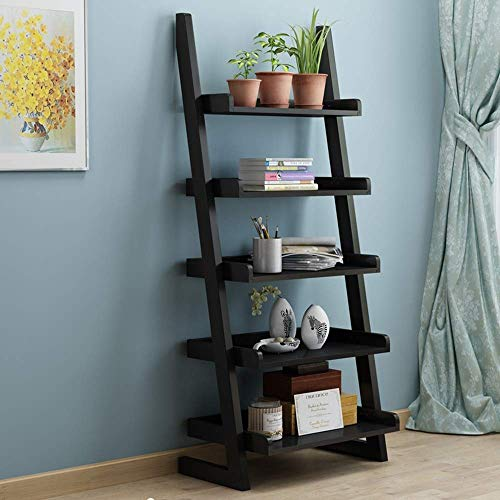 Jazi Estantes Estantería Estantería de escalera de 5 niveles Librería Librería Escalera de madera Librería de estantería Estantería 5 estilos,Negro (Libros De Construccion Para Ninos)