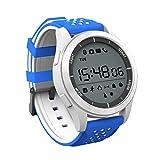 Sport Smart Watch F3 ZRSJ Wasserdicht IP68 Schwimmen Uhr Bluetooth 4.0 mit Schrittzähler Schlaf Monitor Kalorien für Android und IOS Smartphones (Weiß-Blau)