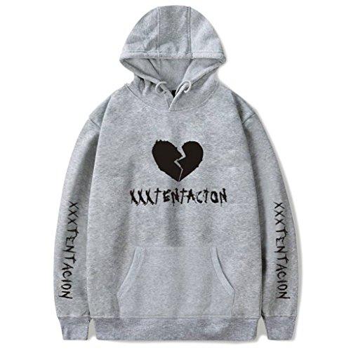 Nankod Hoodie Xxxtentacion Modisches oberstes heißes Cooles Rap-Sweatshirt spätester Art-Pop-hipop Entwurf, populäres Unisex T-Shirt (Grau, L) - Amerikanischen Pop-art