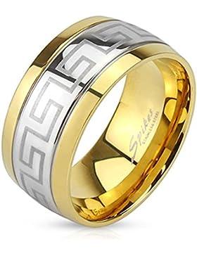 Paula & Fritz® Ring aus Edelstahl Chirurgenstahl 316L silber 10mm breit graviertes Labyrinth goldenen Kanten Ringgrößen...