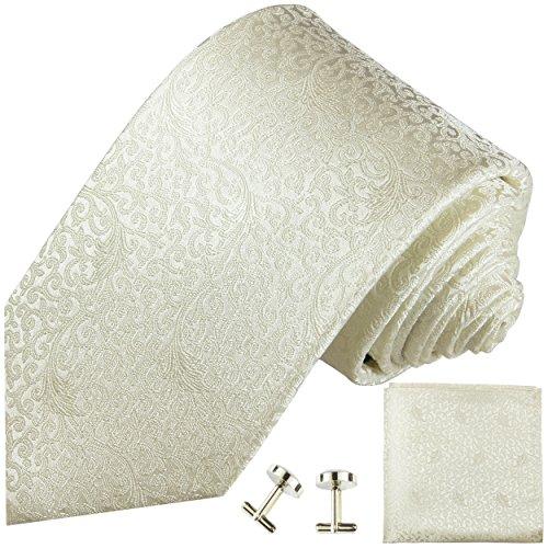 Ivory Krawatten Set 3-teilig Hochzeitskrawatte Paul Malone (Normallange 150cm)