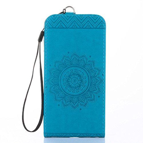 pinlu® Hülle Für iPhone 6 Plus / 6S Plus (5.5 Zoll) Vertikal 360 Grad Klappbar aus PU Leder Flip Cover Mit Standfunktion und Kartenfach Design Mandala Blumen Prägung Blau - 6 Vertikal Case Iphone Leder