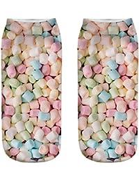 Solike Damen Mädchen Baumwolle Sneaker Socken 1 Paar, Bunte Süßigkeit 3D  Drucken ... d9cf4228c2