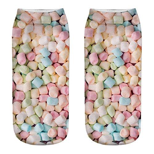 UJUNAOR Unisex Candy 3D-bedruckte Socken Herren Damen Baumwollsocken(I,One size)