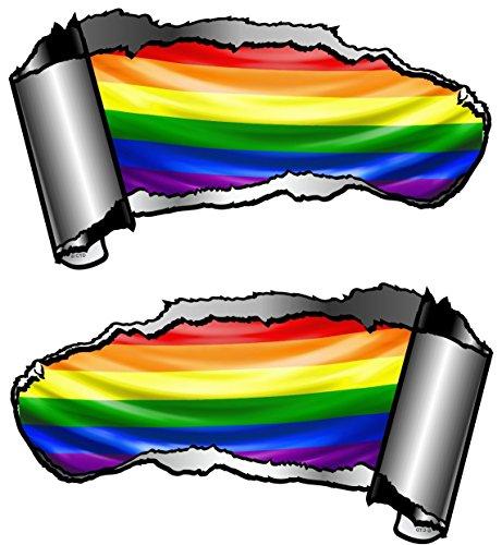 Von Hand Bemalt, Bad (Autoaufkleber, klein, von Hand bemalt, Riss, Metall-Effekt, LGBT-Flagge (Regenbogenflagge), 93x 50mm, 2Stück)