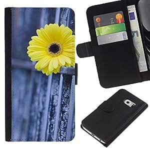 WINCASE ( NON PER S6 ) Immagine Pelle Raccoglitore Carta Custodia Cover Guscio Case Protezione Per Samsung Galaxy S6 EDGE - recinzione margherita metafora significato profondo