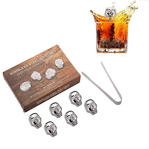 JIASHU 6 Stücke Wiederverwendbare Edelstahl Eiswürfel + Eiszange Metall Whisky Steine   für Getränke Schädelförmigen Whisky Wein Bier Wodka Chiller (Whisky-kugeln Aus Stahl)
