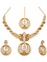 Apara Gold Plated Necklace Set With American Diamond Necklace Set For Women