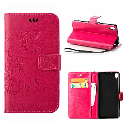 MOONCASE Xperia X Hülle, Schmetterling Tasche Pu Leder Klappetui Bookstyle Schutzhülle für Sony Xperia X Handyhülle Magnetisch [Card Slot] TPU Case mit Standfunktion und Wrist Strap Rosa