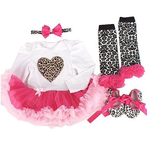 Anik Sunny Neugeborene Infant Sommer Baby Mädchen Tutu Kleid Kleidung passt Stirnband + Leggings + Schuhe Kinder Strampelanzug Kleidung SET Gr. 0-3 Monate,  - leopard + rose pink