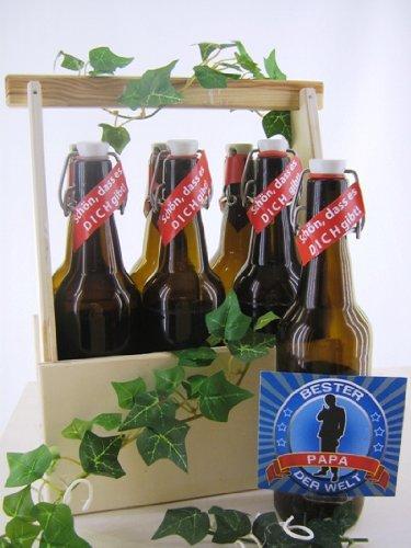 6er Bierträger aus Holz Spruch Papa