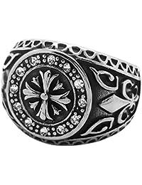 d7894ffe8b9 BOBIJOO Jewelry - Bague Chevalière Croix des Templiers Fleur de Lys Cristal  Transparent Acier Inoxydable Médiéval