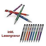 Metall - Kugelschreiber VENEZIA mit Lasergravur / Gravur - Farben sortenrein oder Gemischt (alle mit gleicher Gravur) 9 Farben zur Auswahl, Menge:10 Stück