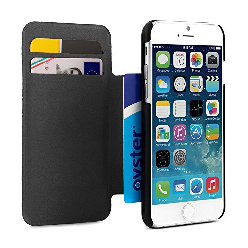 "Proporta latest 2014 iPhone 6 4.7inch Case Cover ? Faux-Leather sleek fit stand case cover for iPhone 6 luxury leather case cover iPhone 6 (4.7"") Cover Case ? Faux-Leather case for iphone 6 2014 with hidden card slot - Black - proporta"