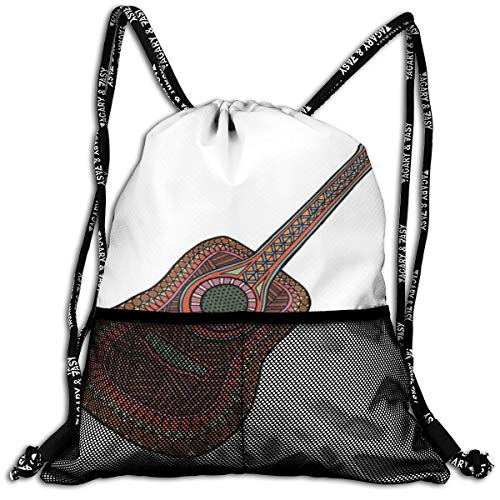 Mesh Beam Backpack Lightweight Foldable Large Capacity Drawstring Casual Rucksack, Acoustic Guitar Print with Ethnic Geometric Ornamentation Musical Equipment,Unisex Fitness Bag