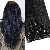 TESS Clip in Extensions Echthaar Haarverlängerung Standard Weft Grad 7A Lang Glatt guenstig Remy Human Hair 8 Tressen 18 Clips 55cm-110g(#1 Schwarz)