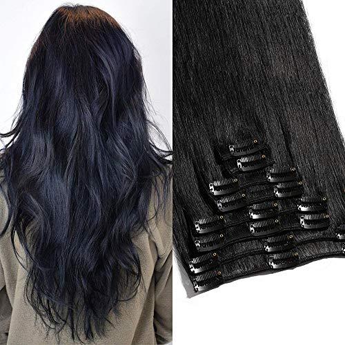 TESS Clip in Extensions Echthaar Haarverlängerung Standard Weft Grad 7A Lang Glatt guenstig Remy Human Hair 8 Tressen 18 Clips 60cm-120g(#1 Schwarz)