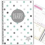 My Foody Diary: Diabetes (6 mois) fait à la main, journal alimentaire, insuline tracker, journal du diabète, log de glucose, A5 (Blue Dots)