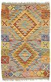 CarpetFine: Kelim Afghan Teppich 61x95 Multicolor - Geometrisch