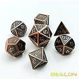 Bescon Neuer Stil Kupfer Solide Metall Polygonal Würfel Spielwürfel Würfeln für DND Dungeons und Dragons, Copper Metallic RPG - Rollenspiel Polyedrische Dice 7pcs Set d4 d6 d8 d10 d12 d20 d%