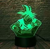 Illusion Lampe Nachtlicht Anime Dragon Ball Z Gott Goku Super Saiyan Action-Figuren 3D Illusion Tischlampe 7 Farbe Nachtlicht Jungen Kind Kinder Baby Geschenke, A
