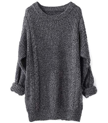 LinyXin Damen Winter Kaschmir übergroße Pullover Kleid Gestrickte Lose Langarm Rundhalsausschnitt Warmer aus Wolle Oversized Pullover (Dunkelgrau)