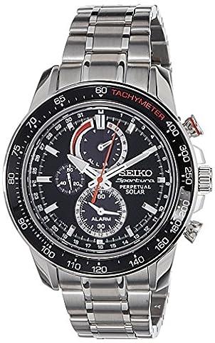 Seiko - SSC357P1 - Solar - Montre Homme - Automatique Chronographe - Cadran Noir - Bracelet Acier Gris