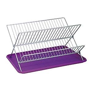 msv 110534 gouttoir vaisselle pliant avec plateau acier plastique argent violet 40 x 34 5 x. Black Bedroom Furniture Sets. Home Design Ideas