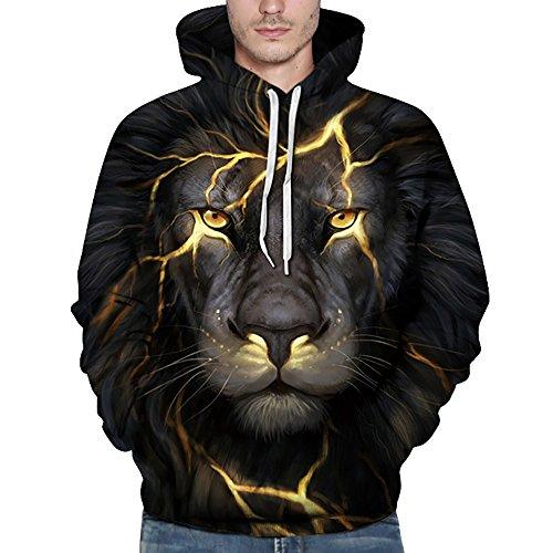 FRAUIT Herren 3D Druck Hoodie Sweatshirt Kapuzenpullover Grafik Langarm Pullover Top Jumper (XXXXXL, Schwarz3) (T-shirt Floral V-neck)