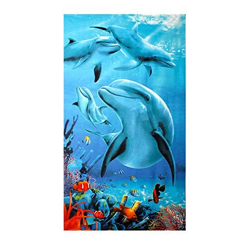 Große Strandtücher Badetuch Schnell Trocknend Wasseraufnahme Extra Microfiber,Pferde,Delphin, Hawaii-Motiv 100 x180CM,Mehrfarbig (Vier Delfine) - Hawaii-handtuch