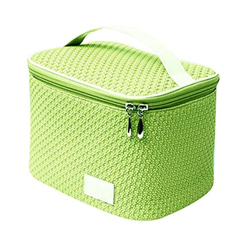 NACHEN Make-up Taschen für Frauen zylindrische PU große Reise Portable Kosmetiktasche mit Reißverschluss Green