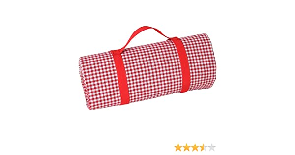 140x280cm Size Les Jardins de la Comtesse Large red gingham picnic and garden blanket with blue and white stripes and a waterproof backing