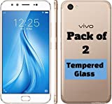 M.G.R.J - Vivo V5 Plus (Pack of 2) Tempered Glass Screen Protector with 0.3mm Ultra Slim 9H Harness, 2.5D Round Edge, Crystal Clear & Alcohol Prep Pad
