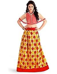 Shree Women's Silk Unstitched Lehenga Choli (SRENT004_Multi-Coloured_Free Size)