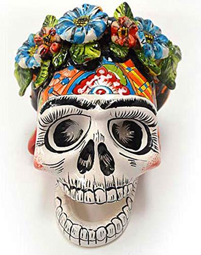 tierra y manos Frida, Talavera - Skelettkopf mit Blumenkranz im Haar, Skull, Calavera, Schädel, Día de los Muertos