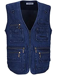 lusi Madam Hombre Denim taschens Leisure Outdoor Fishing Caza y Pesca Chaleco EU 2 x l/Asia 5 x l Blue